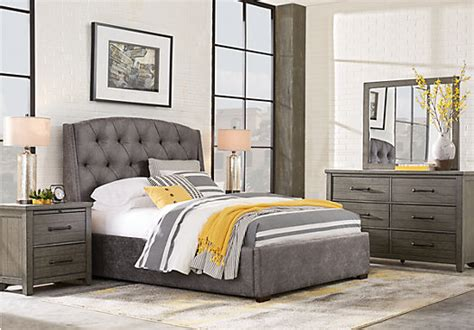 urban plains gray  pc king upholstered bedroom contemporary