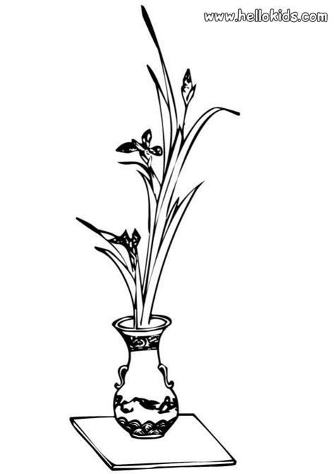 flower coloring pages vase with flowers
