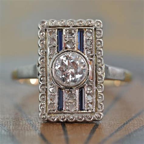 deco ring unique engagement ring antique