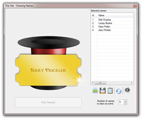 Giveaway Name Picker - the hat list randomizer and random name picker for windows