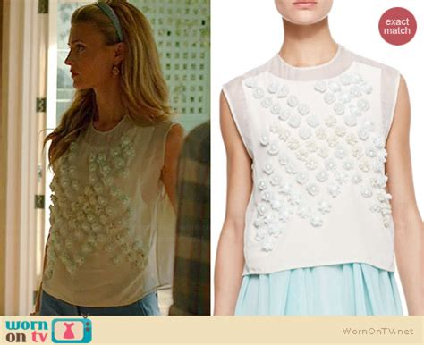 wornontv: paige's white pearl embellished top on royal
