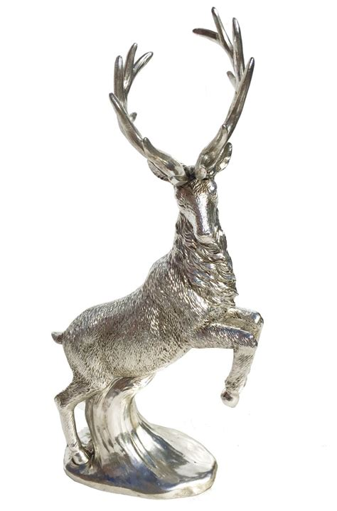 silver standing reindeer stag figure statue ornament xmas