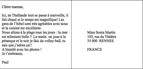 Exemple De Lettre Vacances La Poste Quot Fle Quot Exemples De Cartes Postales