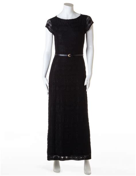 black lace maxi dress with belt cleo