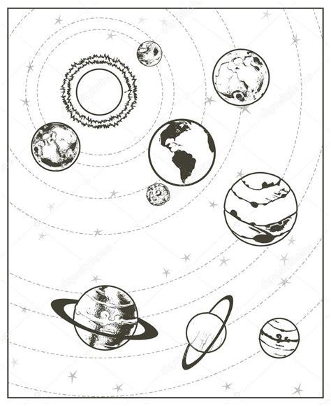 imagenes del universo en blanco y negro dibujo de sistema solar negro vector de stock 169 natis76