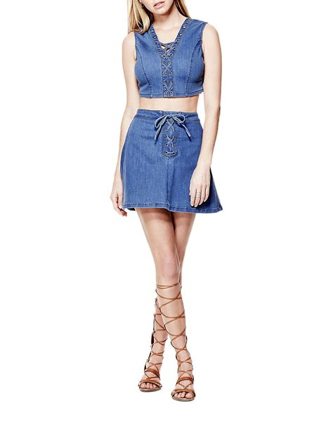 Rok Overall Flare Skirt Denim guess flared lace up denim skirt in blue lyst