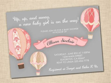 up up and away baby shower invitation baby air balloon grey pink print