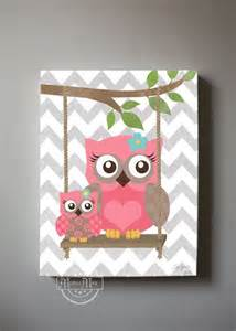 Owl Nursery Wall Decor Owl Decor Wall Owl Canvas Baby Nursery Owl With Swing 10x12 Woodland Whimsical