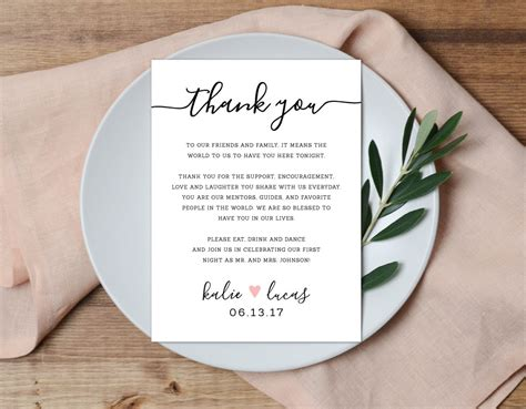 Wedding Favors Thank You Wording by Thank You Place Setting Wedding Thank You Card Wedding Table