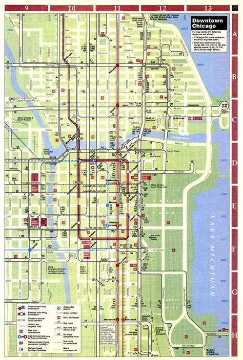 map of downtown chicago chicago l org system maps route maps