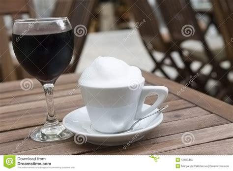 coffee cup  red wine glass outdoor stock image image