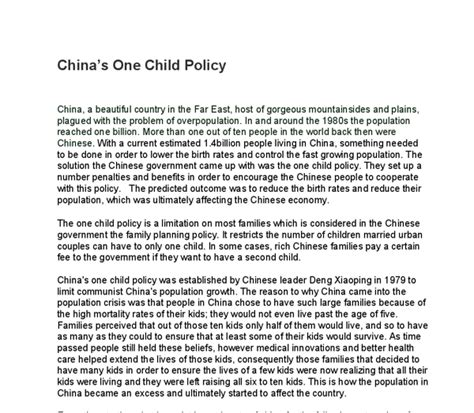 One Child Policy China Essay by One Child Policy In China Essay Judging S One Child Policy The New Yorker S One Child Policy