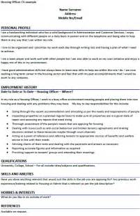 Housing Officer Sle Resume by Housing Officer Cv Exle Forums Learnist Org