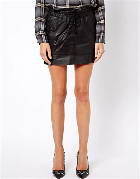 asos mango rouched waist leather mini skirt in black lyst