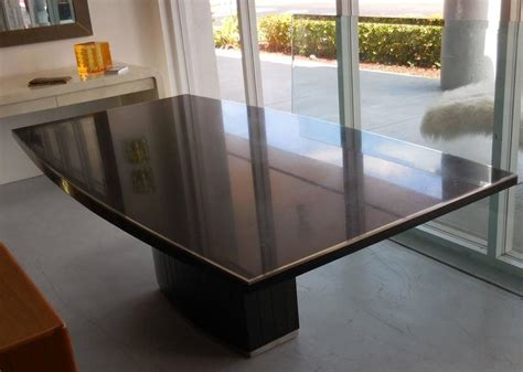 Granite Dining Table For Sale Black Granite And Stainless Steel Dining Table By Willy Rizzo For Sale At 1stdibs