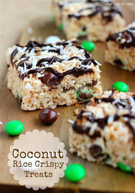 coconut treats coconut rice crispy treats your cup of cake