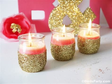 diy candle crafts diy pink candles and glitter candle holders ideas