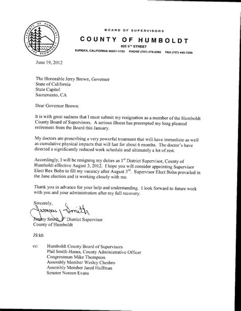 supervisor jimmy smith s resignation letters lost coast