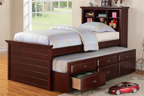 cherry wood twin bed with drawers twin size bed multi storage unit cherry finish trundle