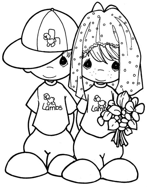 Precious Moments Wedding Coloring Pages 為孩子們的著色頁 to the wedding free precious