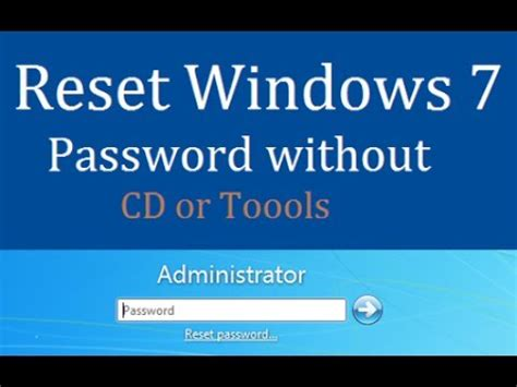 reset vista password live cd reset windows 7 password without cd or software youtube