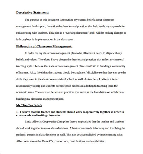 sle classroom management plan template 9 free