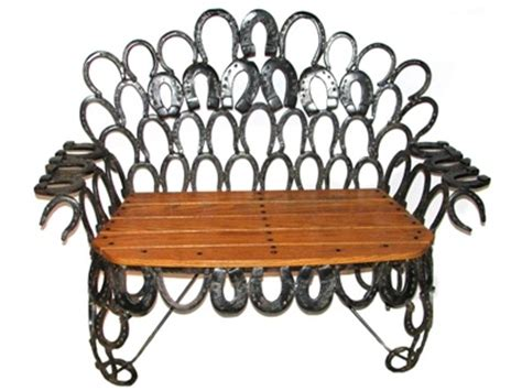 horseshoe bench handmade bench with repurposed antique horseshoes so