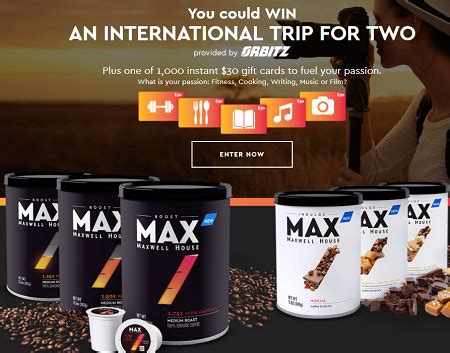maxwell house max your passion sweepstakes and instant win game 1 000 prizes - Max Your Passion Sweepstakes