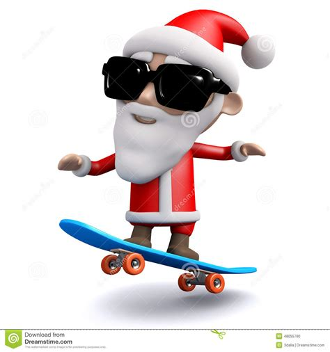 3d Santa Claus Skateboarding Stock Illustration Image Click Santa Claus Skateboard