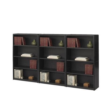 4 shelf bookcase black 4 shelf economy steel wall bookcase in black 7172bl pkg