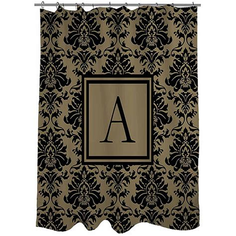 black gold shower curtain thumbprintz damask monogram black and gold shower curtain