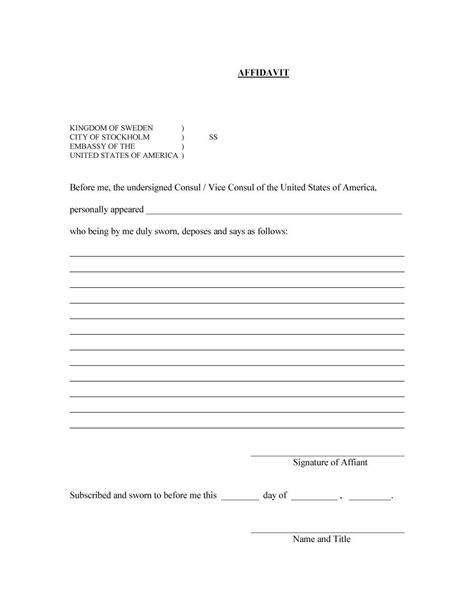 39 Printable Blank Affidavit Template Sles Twihot Fillable Form Template