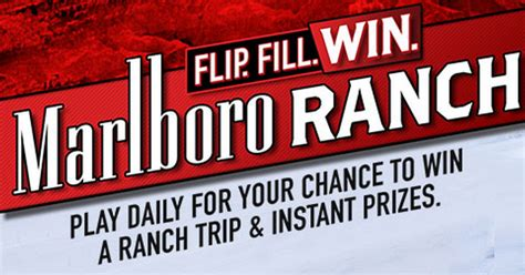 Marlboro Ranch Sweepstakes - coupons and freebies marlboro flip fill win instant win giveaway 3 979 winners