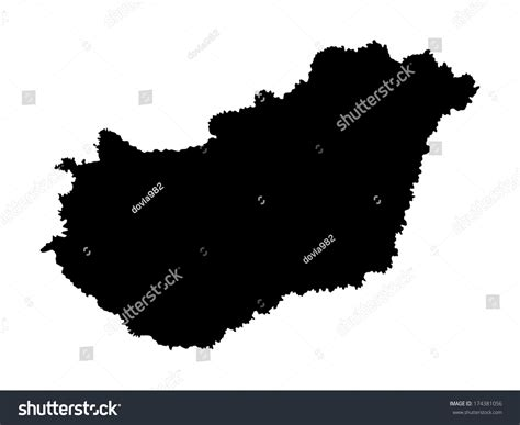hungary map vector high detailed vector map hungary silhouette stock vector