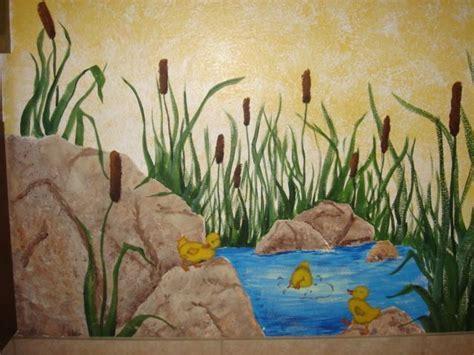 painted wall mural ducks ducklings pond cattails bathroom