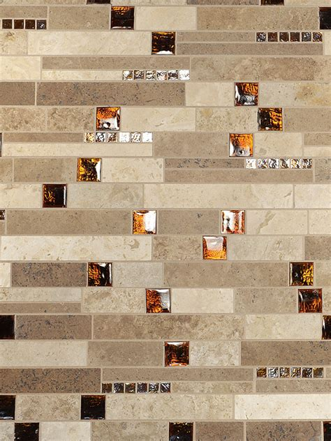 travertine and glass tile backsplash brown glass travertine mix backsplash tile for traditional kitchen