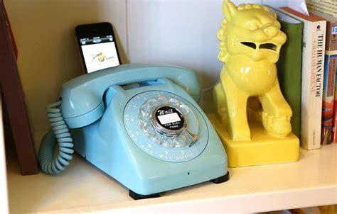 tiffany blue rotary phone dock speaker gadgetsin