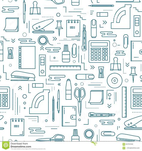 icon pattern svg stationery icons seamless pattern stock vector image