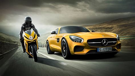 Car Wallpaper Hd 1920x1080 Nature Png by Mercedes Vs Motorcycle Hd Cars 4k Wallpapers Images