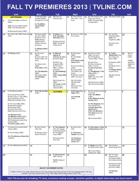 Fall Calendar Fall Tv Premiere Dates 2013 Calendar Of 100 Season