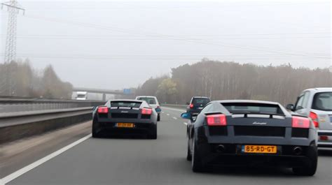 Lamborghini On Autobahn 2x Lamborghini Gallardo Racing On Autobahn 1080p Hd