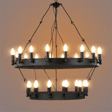 Circular Chandelier Lighting Industrial Vintage Shaped Pendant Light Black Hanging Wire Chandelier From China