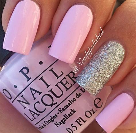 lovely baby pink nail paint and silver accent nail art