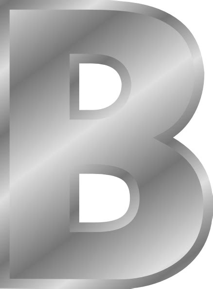 silver alphabet effect letters alphabet silver b clip free vector