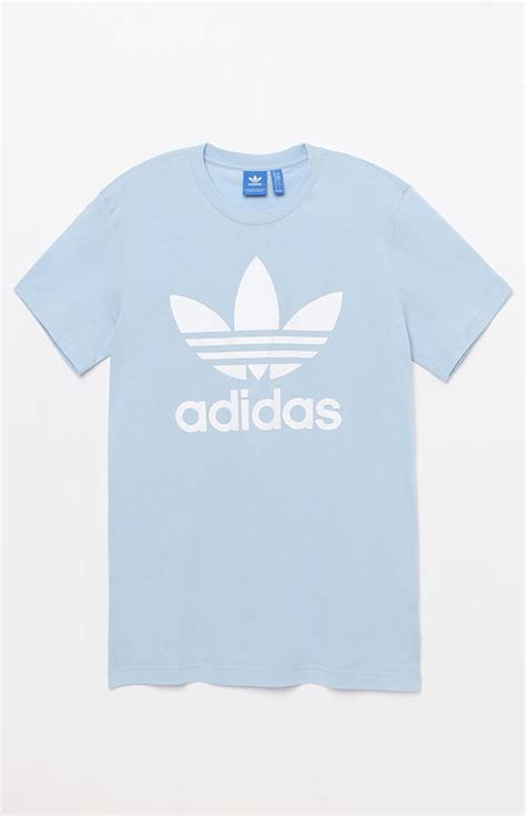 light blue adidas shirt adidas trefoil light blue t shirt shopstyle shirts