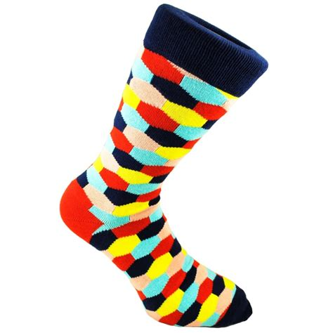 navy patterned socks navy blue red yellow peach sky blue hexagonal