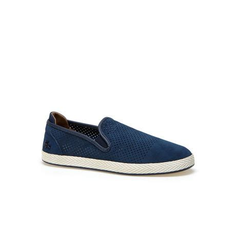 lacoste slop suede navy s tombre perforated suede slip ons lacoste