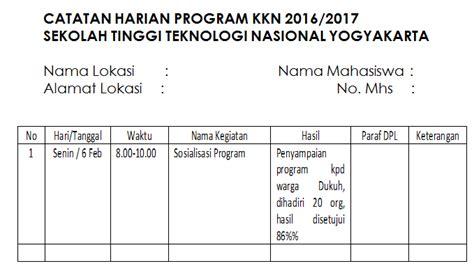 format daftar hadir kkn teknis pelaksanaan kkn semester genap tahun 2016 2017