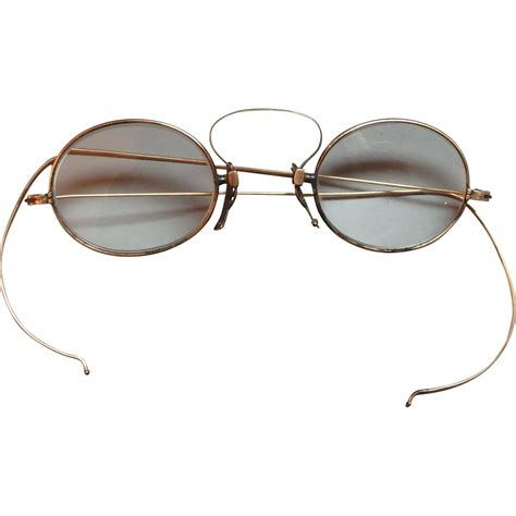 antique 10k yellow gold wire rimmed eyeglasses from
