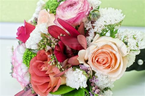 Wedding Flower Bunch by Wedding Bunch Of Flowers At White Table Stock Photo